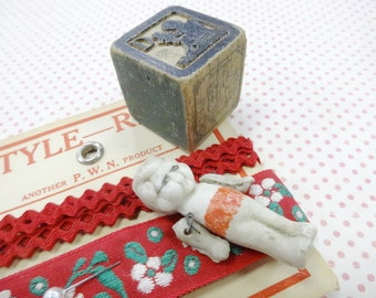 Charming Little Things Vintage Bisque Baby Doll  Sewing Notions Doll Sized Keepsakes Display Baby's Treasures Collection
