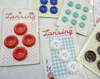 Sew Crafty Vintage Plastic House Dress Novelty Carded Sewing Buttons Notions Collection (6) Each Colorful Lot Sets On Recycled Button Cards