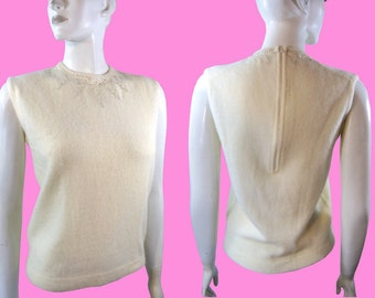 Vintage 1960s Bombshell Angora / Wool Pin Up Sleeveless Sweater with Sequins