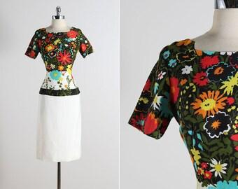 Jeanette Alexander . vintage 1960s dress . vintage floral dress . 5529