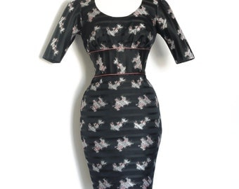 Black Striped Evening Graffiti Brocade Pencil Dress - Made by Dig For Victory
