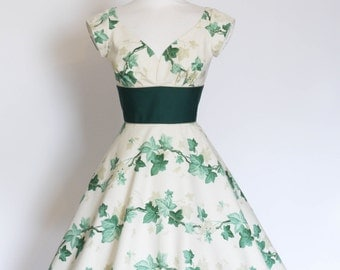 UK 10 Ivy Print Cotton Sweetheart Tea Dress with Cap Sleeves and Flared Skirt - Made by Dig For Victory