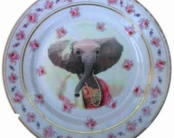 "SALE - Eleanor the Elegant Elephant - Altered Vintage Plate 7.5"" DAMAGED"
