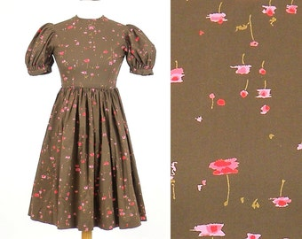 50s Dress, 1950s Day Dress, Brown & Pink 50s Floral Cotton Girls Dress or Petite Teen Dolly Dress