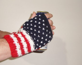 American Flag Gloves Men's Knit fingerless Gloves, Fingerless Winter Gloves, Red, White, Blue with 50 stars stripes