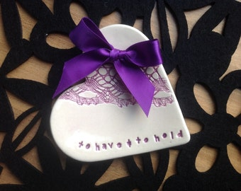 wedding ring plate pillow purple heart ceramic dish bride and groom gift