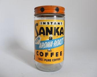 Vintage 1960's SANKA Instant Coffee Glass Jar with Metal Lid