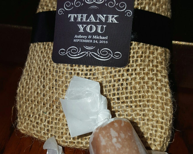 BURLAP WEDDING FAVORS - 2 Salted Caramels each - Personalized - Bridal Showers, Baby Showers, Corporate Events, Birthdays, Anniversary Party