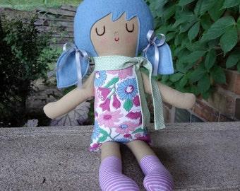 Summer // Handmade Doll // Girl Gift // Birthday Gift // Rag Doll // Nursery Decor // Girls Room Decor // Blue Hair Girl // Warm Sugar Doll