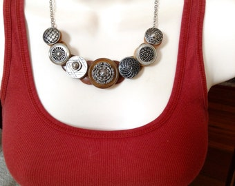Textures in Silver button necklace