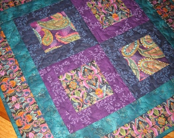 Quilted Table Topper Jewel Tone Paisley Turquoise Purple Blue Large Table Topper, Reversible Table Mat Paisley Table Topper Quiltsy Handmade
