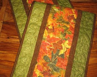 Fall Table Runner, Autumn Orange Yellow Green Leaves, Quilted Table Runner, Fall Autumn Table Decor,  Autumn Runner Reversible Handmade