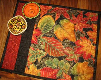 Fall Autumn Placemats, Gold Red Orange Leaves, Reversible Placemats, Fall Decor, Thanksgiving Table Mats, Handmade TahoeQuilts