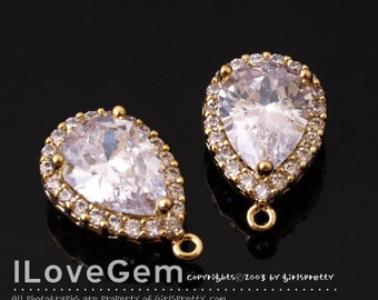WSALE / 10 pcs / NP-1734 Gold plated, Cubic zirconia, Drop Pendant, 11X17mm / Cubic pendant, Wedding jewelry supplies