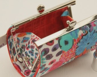Lipstick Case/ Lipbalm case/ silver metal frame/ Liberty tana lawn/Small Artist's Bloom /spring 2016 collection