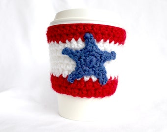 One star  travel mug cup cozy coffee crochet red white and blue