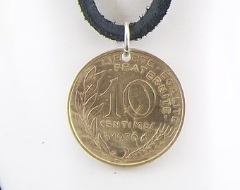 French Coin Necklace, 10 Centimes, Coin Pendant, Leather Cord, Mens Necklace, Womens Necklace, Birth Year, 1976