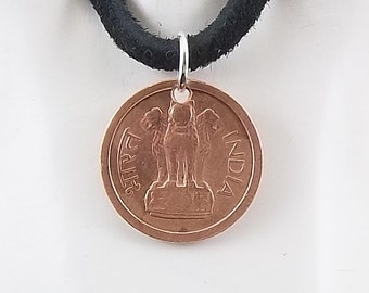 Small India Coin Necklace, 1 Naya Paisa, Coin Pendant, Leather Cord, Mens Necklace, Womens Necklace, Birth Year, 1957