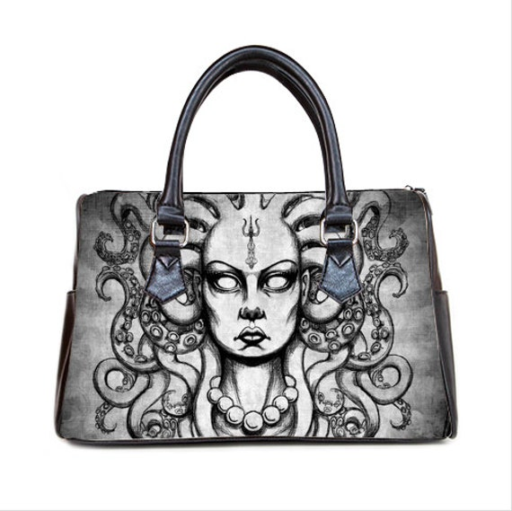 Medusa with tentacles Barrel Style Handbag