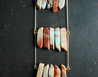 Free Shipping - Aqua Terra Jasper Breastplate Necklace - OOAK