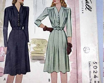 McCall's 5024, Vintage Dress Sewing Pattern, 1942, Misses' Size 16, Bust 34