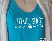Junkin' Shirt Ladies' Triblend V-Neck T-Shirt- funky junk, pickers, thrifting, junk queen, junk gypsy ladies v-neck