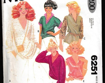 3 Patterns McCall's 6251 Misses' Set of Knit Tops Stretch Knits Only Carefree™  Patterns