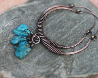 Rustic Jewelry Hoops earrings A7 - Turquoise stone - coiled hoops - solid copper hoops - rustic artisan - original artisan boho gypsy hoops