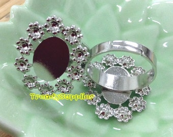 5 pcs Adjustable Silver Plated Oval Flower Setting Rings, Nickel Free (FR008)