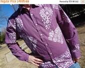 VALENTINES SALE Purple Long Sleeved Men's Handmade Artwork Indian Cotton Button Down Pocket Shirt - Archer H759