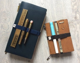 Handmade elastic pen band for Midori Travelers Notebook