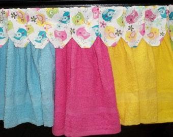 Hanging Kitchen Towels - Pastel Birds