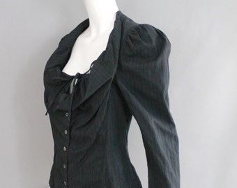90s VIVIENNE WESTWOOD Anglomania black cotton poplin tailored bustier BLOUSE top 8 vintage 1990s