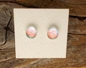 """Dichroic Glass Earrings Pale Aqua Red  5/16"""" DGE-846"""
