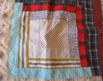 Vintage Patchwork Quilted Pillow Case Hand Made Patchwork Pillow Case vintage fabrics