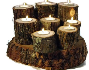 40 Rustic Tree Branch Candle holders - Woodland wedding decoration - Holiday lighting Decoration - Corporate parties