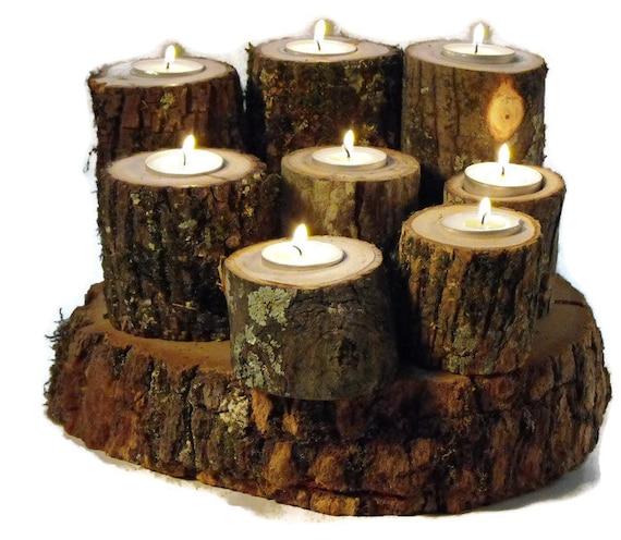 Rustic votive candle holders woodland wedding