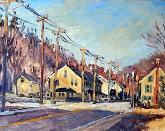 Houses and Poles, Early Spring, North Adams. Original Oil on Panel, 8x12 Plein Air Landscape Painting, Signed Original Realist Fine Art