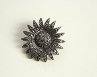Sterling Silver and Marcasite Sunflower Pin