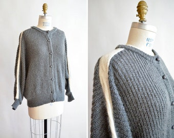 Vintage 1980s made in ITaly ANGORA and wool cardigan