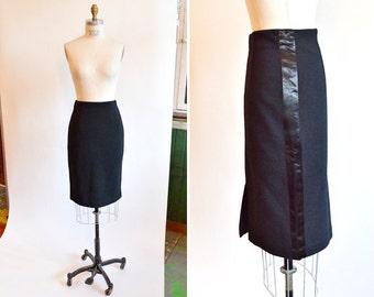 Vintage 1990s black wool pencil skirt w/ satin flashing