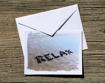 Beach Theme Cards-  RELAX Sentiment Greeting Cards Set of 3, relax cards, beach stone word, unique teacher gift, beach writing, summer cards