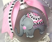 Elephant Ornament, Handpainted Personalized Christmas Ornament, Family Christmas ornament, preppy, monogram, Babys First Christmas