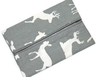 Men's Gift, Travel Tissue Holder, Men's Charcoal Grey, Pocket Tissue Holder, Fabric Tissue Case
