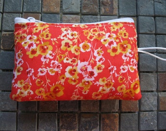 blossom print padded makeup jewelry bag