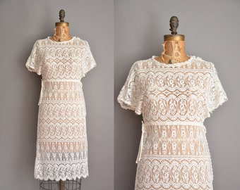 70s bohemian lace dress / vintage 1970s dress