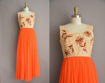 60s Emma Domb floral sequin chiffon vintage party dress / vintage 1960s dress