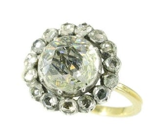 30% Off Sale Antique Victorian engagement ring with humongous rose cut diamond