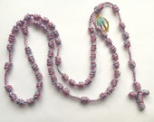Pink and Blue Our Lady Of Grace Knotted Cord Rosary