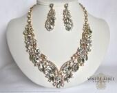Gold Bridal Necklace, Wedding Jewelry Set, Crystal Bridal Statement Necklace Earrings, Bridal Earrings, Vintage Style